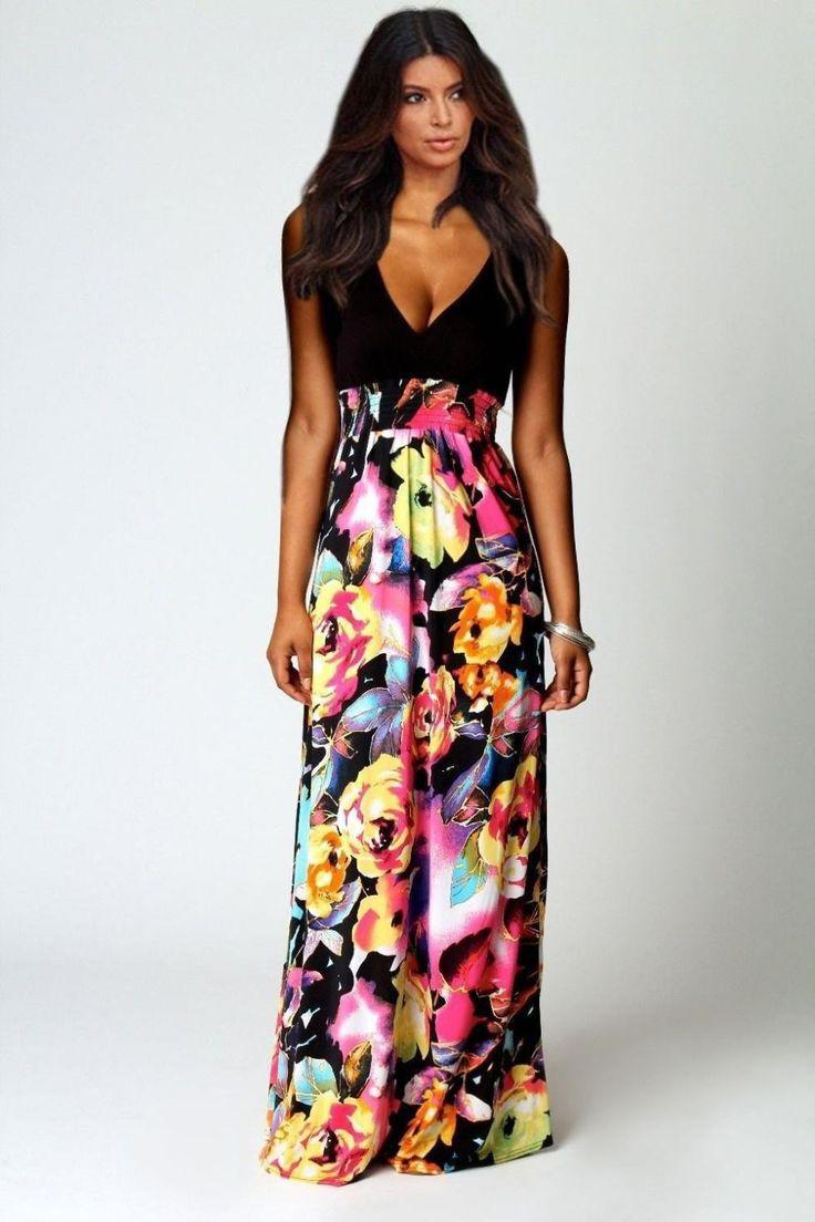 Plus Size S-L High grade 2015 Brand NEW Summer Women black Floral Print Chiffon Long Dresses V-Neck Beach Boho Maxi Sundress