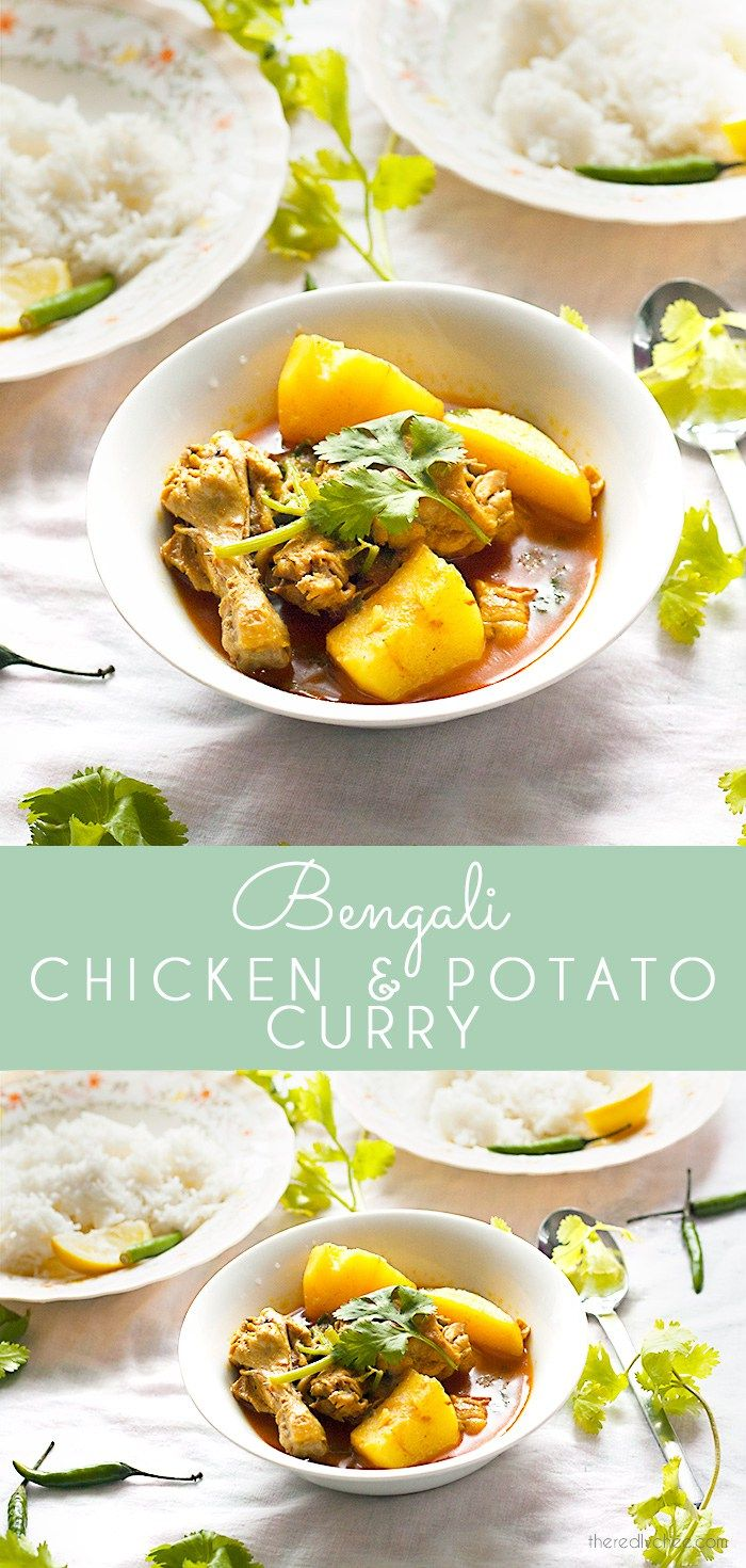 Chicken and potato curry - a simple and flavour packed staple of Bengali and Bangladeshi home cooking. Unlike in some other Indian recipes, the gravy or jhol is rich and loose. The curry is flavoured with a mix of whole and ground spices such as cumin, cinnamon, cardamom and cloves. A much loved recipe for dinner.