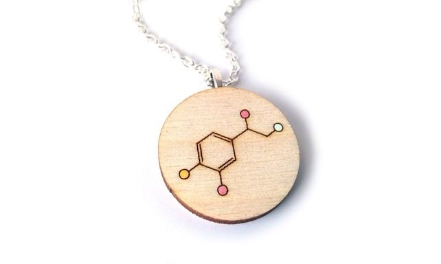 Valentines Day necklace, inspired by science for a super geeky wear! The chemical formula for love, or at least the hormones involved! Available in my online shops!