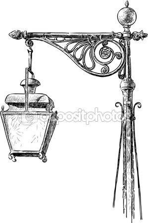 Baixar - Lanterna antiga de rua — Ilustração de Stock #100476494