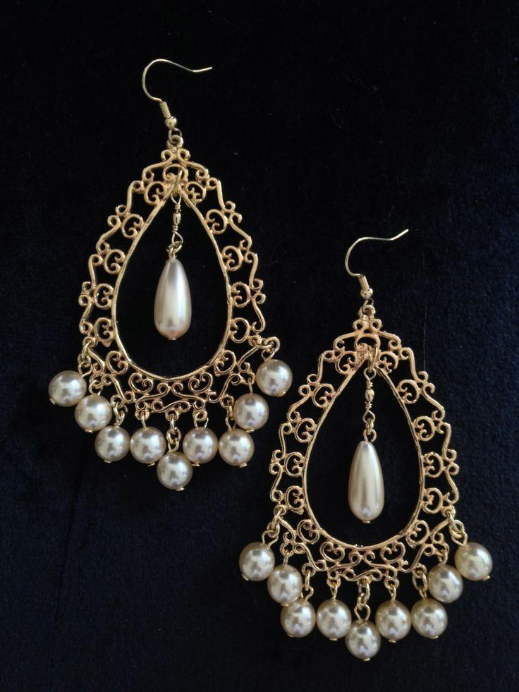 Cream pearl & gold filigree chandelier earrings by Helena Karter Jewellery Design 2014!