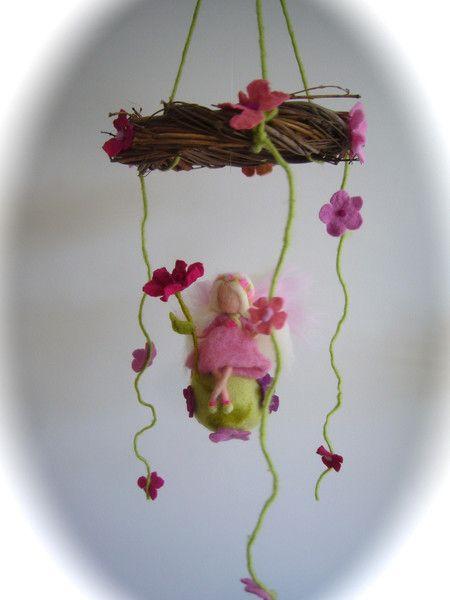 Mobile,Blumen Fee .Elfe. Gefilzt.Waldorf. von Filz-Art. auf DaWanda.com