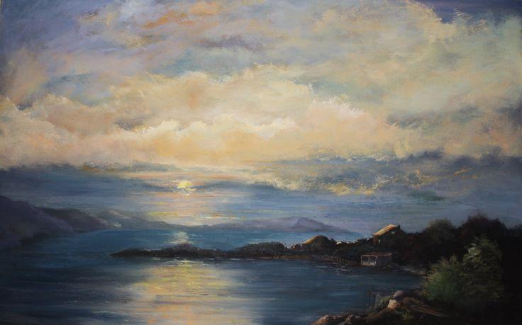 Sunrise Bay.   55 x 70cm.  Oil on Board