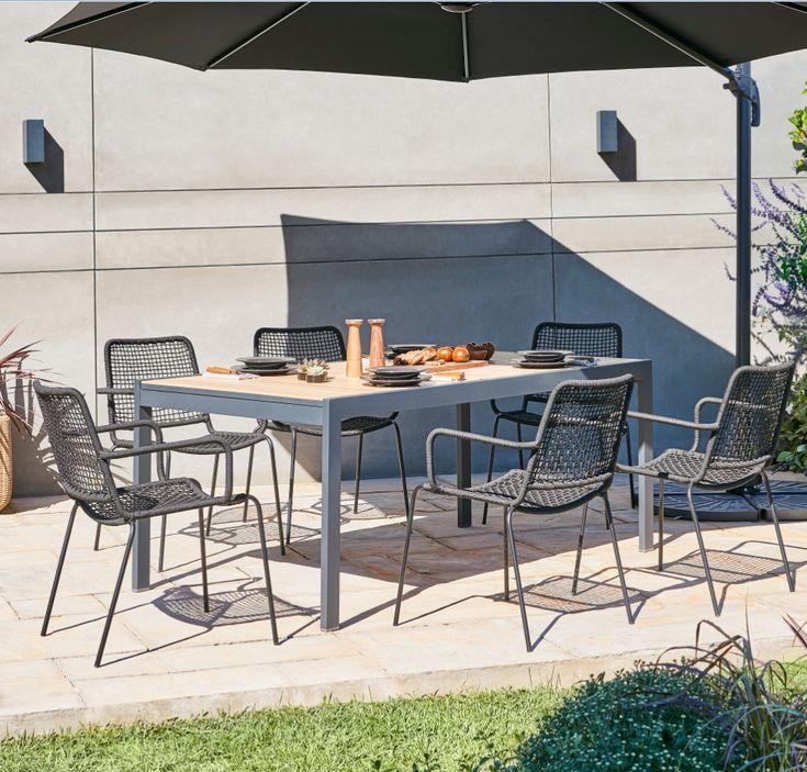 Table De Jardin En Aluminium Morlaix 180 270 X 100 Cm Table De Jardin Espaces Exterieurs Chaise De Jardin