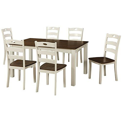 a028dc7348 EFD 7PC Dining Room Table Set 6Seat Two Tone White Brown Modern Rectangular  Wooden Large Formal Casual Fancy 6 People Kitchen Dining Room Table and  Chairs ...