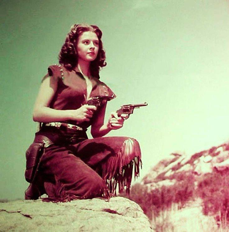 ROSE OF CIMARRON (1952) - Mala Powers as Oklahoma bandit queen Rose Dunn aka 'Rose of the Cimarron' - Jack Buetel - Bill Williams - Jim Davis - Bob Steele - Directed by Harry Keller - 20th Century-Fox - Publicity Still.