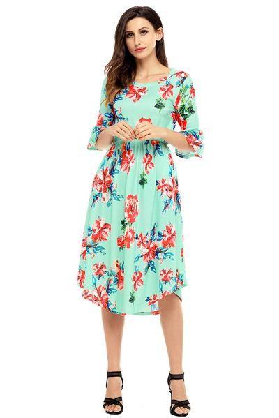 a61f2f6dd95 Green 3/4 Bell Sleeve Floral Midi Dress in 2019 | Midi Dresses ...