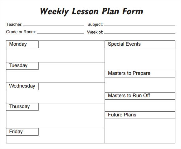 Weekly Lesson Plan Template  Free Weekly Lesson Plan Templates