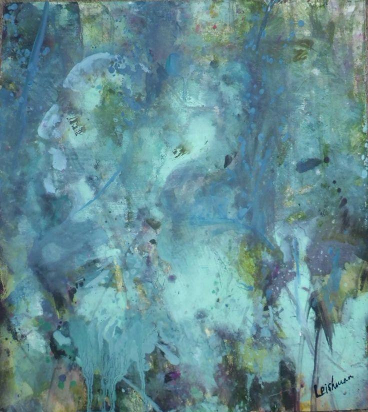 'People of the Forest'.  Mixed media on board  30 cms x 34 cms. For Sale