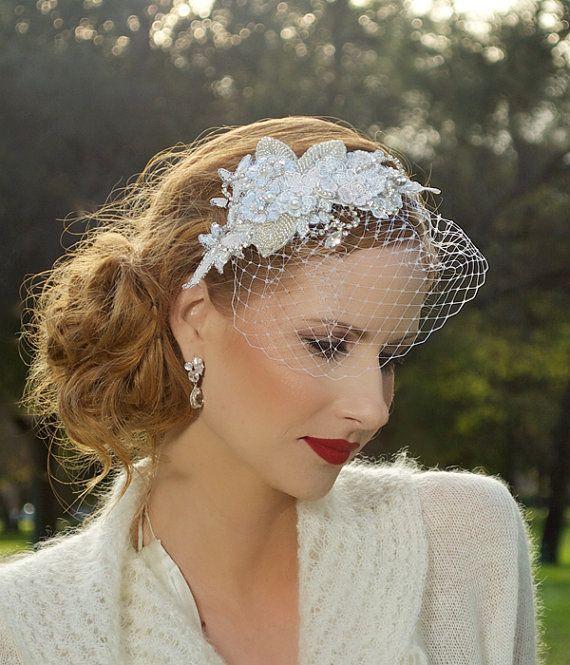 Bridal Headpiece, Crystal Headpiece, Silver, Vintage, Lace, Wedding Hair Clip, Veil Clip, Birdcage Veil, Fascinator - LOUELLA