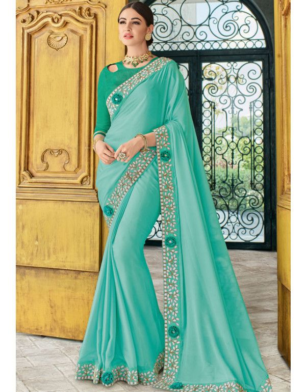 Cyan Blue Designer Embroidery Work Saree In 2019 Party Wear Sarees