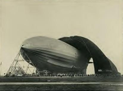 Blimp at the Akron Airdock. 1930s