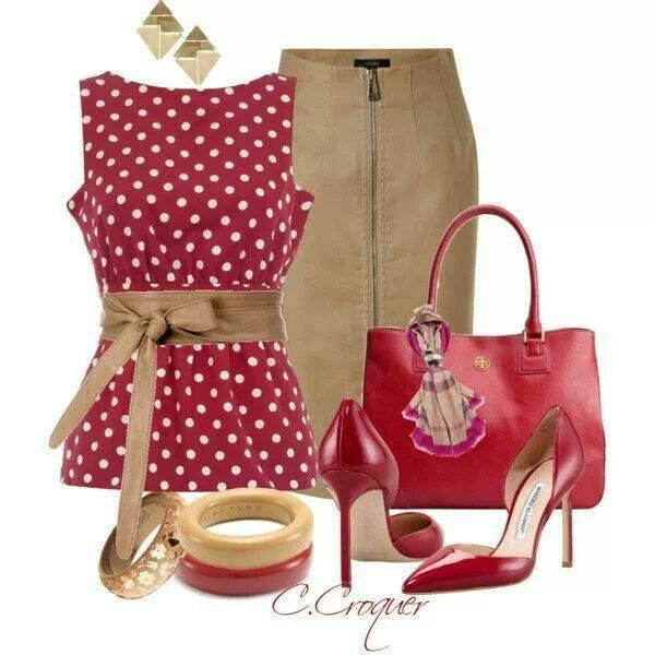 skirt outfit polka dots