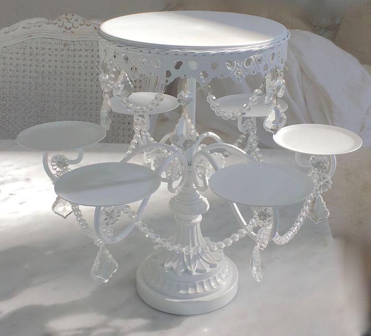 Hamptons Shabby Crystal Prisms White Chic Cupcake Candelabra Display Cake Stand