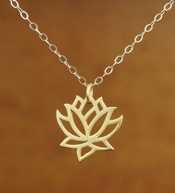 Lotus Pendant Necklace in Gold Vermeil, bridesmaid gift, wedding necklace via Etsy