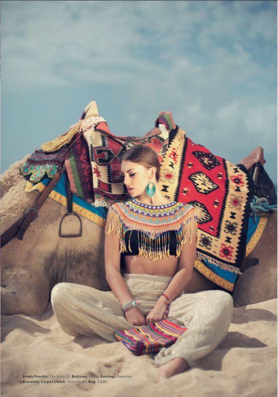 Bali Fashion - Beads Poncho: The Story Of; Bottoms: Palma; Earrings: Ramonas; Bracelets and Clutch: Jewel Rocks; Bag: GADS;  Photography by Pixeldust Images