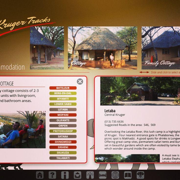 Accommodation page from Kruger Tracks app #krugertracks