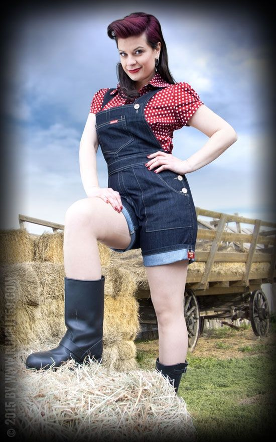 Ladies Denim Playsuit Shorts | Rockabilly - 50s Style #rumble59 #denim #playsuit #dungarees #rockabilly #50s #summer