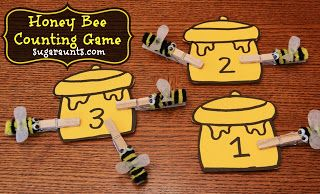Honey bee counting and fine motor activity | The Sugar Aunts #counting #math #bees