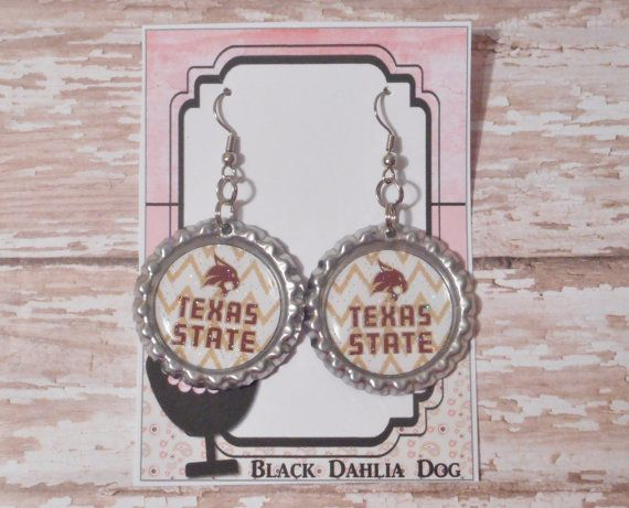 Texas State Bobcats Inspired Glitter Bottlecap by BlackDahliaDog