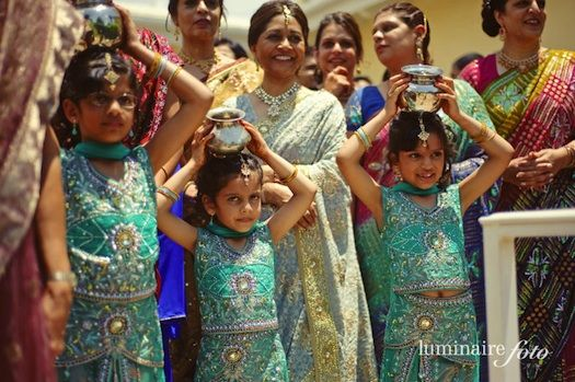 gujarati wedding in India, flower girls, indian wedding