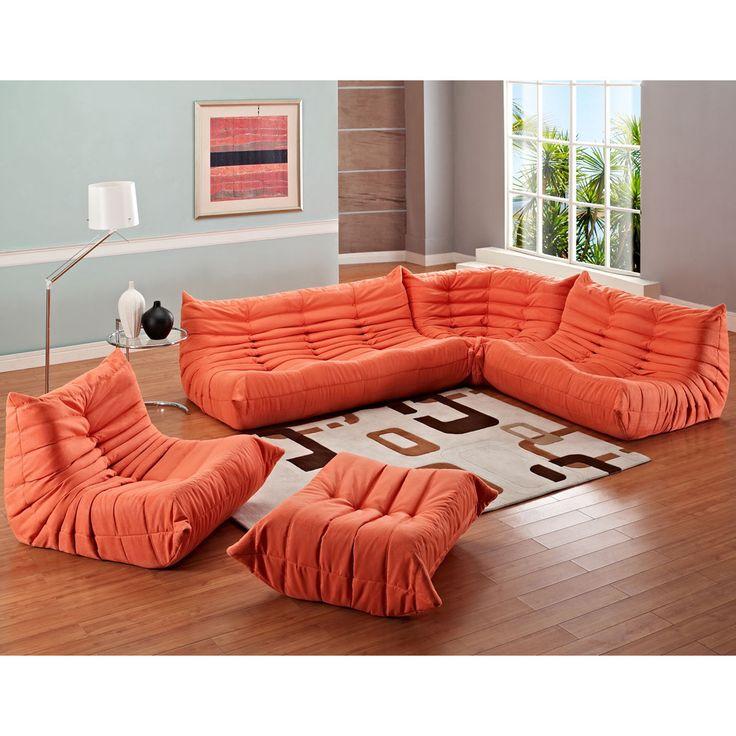 modway waverunner 5piece modular sectional sofa set