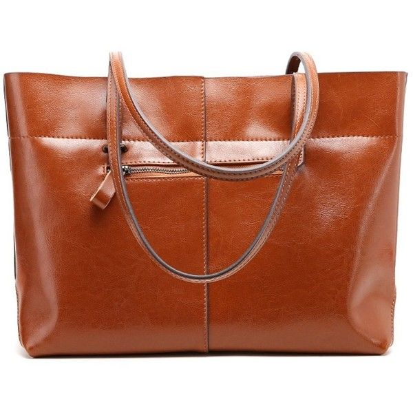 Women Designer Leather Tote Handbag Vintage Casual Satchel Purse... (249345 PYG) ❤ liked on Polyvore featuring bags, handbags, brown leather handbags, vintage leather handbags, man bag, man shoulder bag and brown leather tote