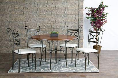 Baxton Studio Edinburgh Wood and Metal 5-Piece Contemporary Dining Set