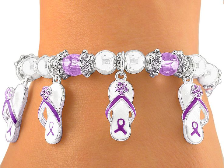 Flip-Flop Purple Ribbon Awareness Stretch Charm Bracelet for General and Pancreatic Cancer, Crohn's Disease, Colitis, Cystic Fibrosis, Hodgkin's Disease and Fibromyalgia