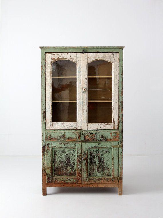 Reserve Antique Primitive Pie Safe Cabinet Painted