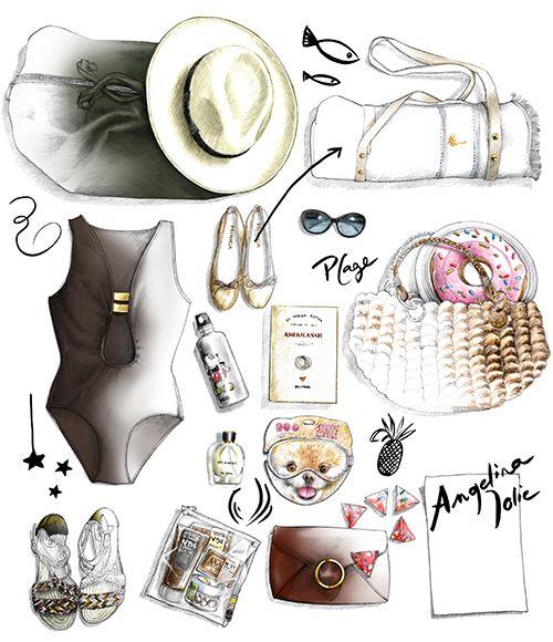 Illustration valise de star Angelina Joli dessin Florence Gendre pour Figaro Madame #dessin#sac#angelinajoli#lunettes
