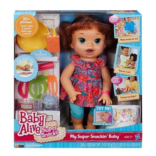 Baby Alive Super Snackin Sara Brunette Interactive Pretend Play Doll Toys Gift #Hasbro