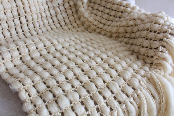 Super chunky blanket natural wool throw wedding by quirogaquiroga