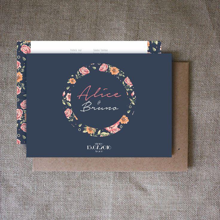 Nova arte com lindas ilustrações florais saindo em nossa loja online!  Disponível para compra com suas informações por R$ 99,00.  Seja livre e imprima seu convite aonde quiser, economize e tenha lindas artes para seu casamento:  www.papeleletra.com.br