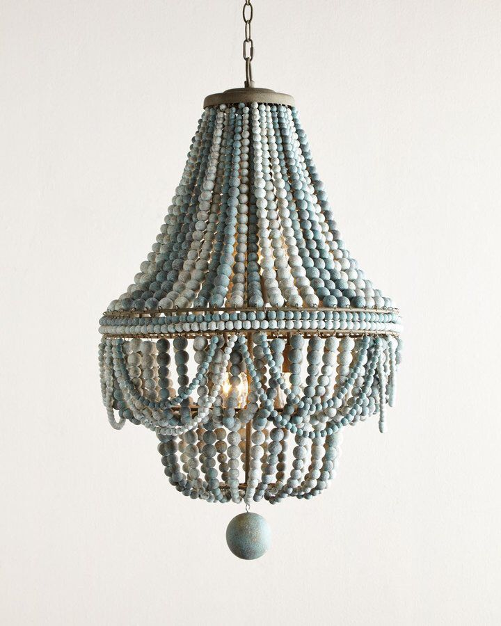 Beaded Chandelier In Shades Of Blue Stained Wood
