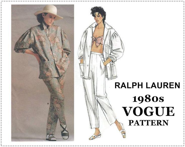 1980s Sewing Pattern - Vogue 1558 - Ralph Lauren Vogue American Designer - Loose Resort Jacket & Tapered Pants - Size 10 Bust 32 - UNCUT by EightMileVintageSews on Etsy