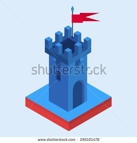 A vector illustration of an isometric fairy-tale castle tower - stock vector