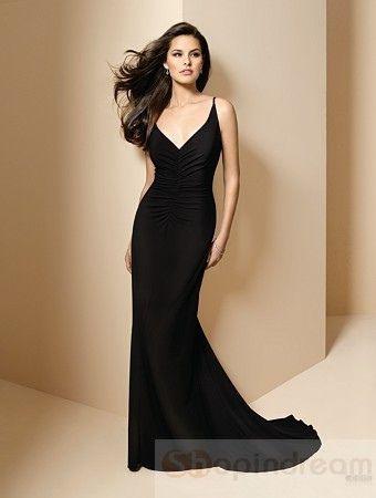 A-line v-neck strap black long bridesmaid dress