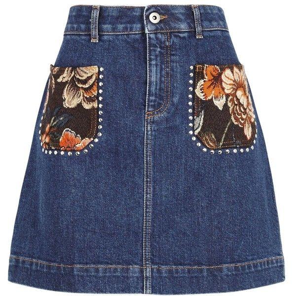 Stella McCartney Dark Blue Denim Mini Skirt - Size 10 ($685) ❤ liked on Polyvore featuring skirts, mini skirts, blue mini skirt, floral skirts, denim skirt, mini skirt and denim miniskirt