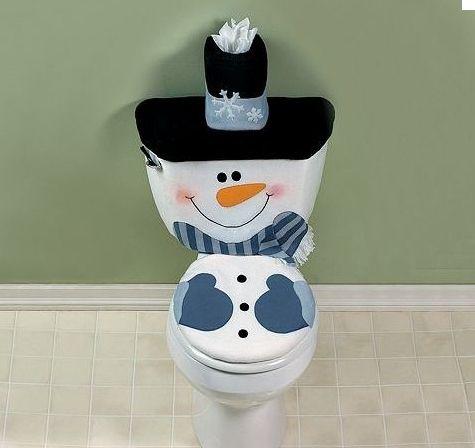 Snowman Toilet Cover Set Christmas Winter Bathroom Decor Seasonal Allen Carpenter This Is So
