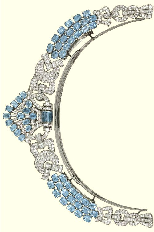 Alt view of AN ART DECO AQUAMARINE AND DIAMOND NECKLACE, BY LACLOCHE FRÈRES  Of geometric design, the shield-shaped central panel mounted with rectangular-shaped aquamarines and circular and baguette-cut diamond detail to the three row aquamarine connections interspersed with diamond-set buckle panels, to the two row aquamarine backchain and diamond-set clasp, converts to form a halo tiara, the front panel detaches to form a brooch , circa 1930.