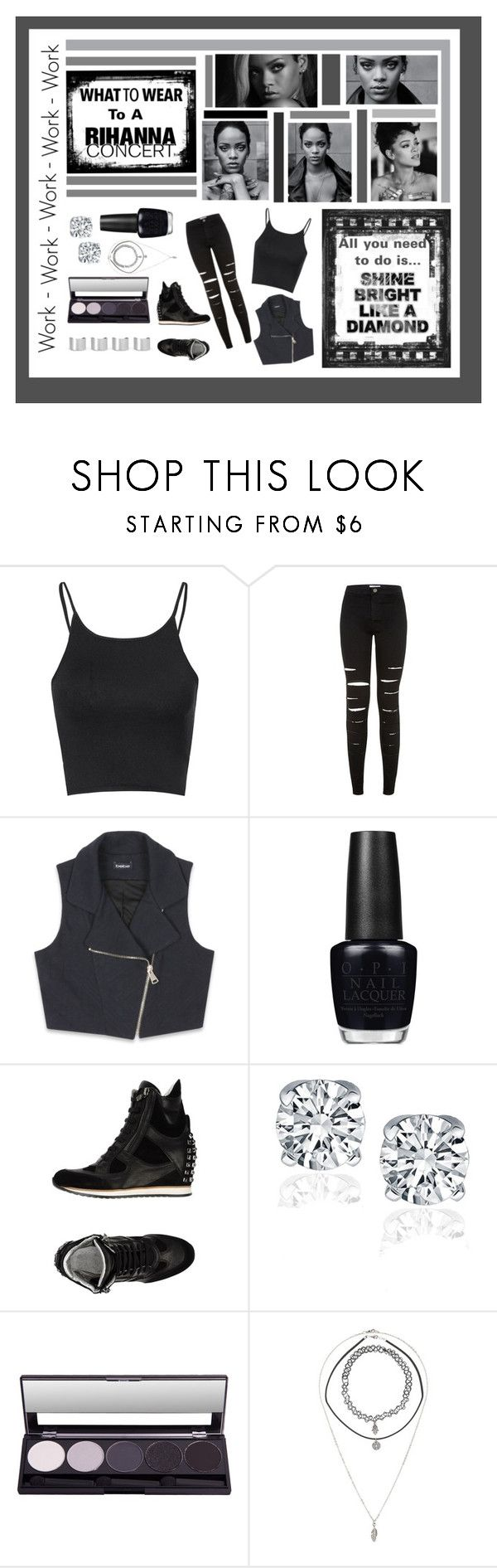 """""""What to wear to a Rihanna Concert"""" by ember-shadow ❤ liked on Polyvore featuring Glamorous, Bebe, OPI, ELENA IACHI, Charlotte Russe, Maison Margiela, contest and Rihanna"""