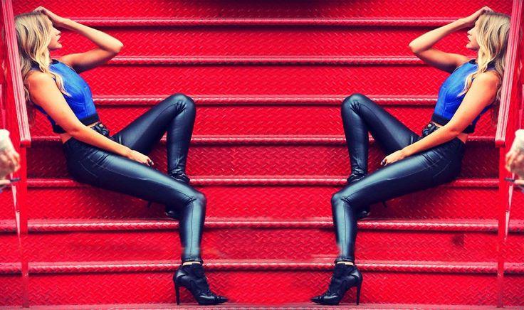 Outfits con pantalon imitacion cuero