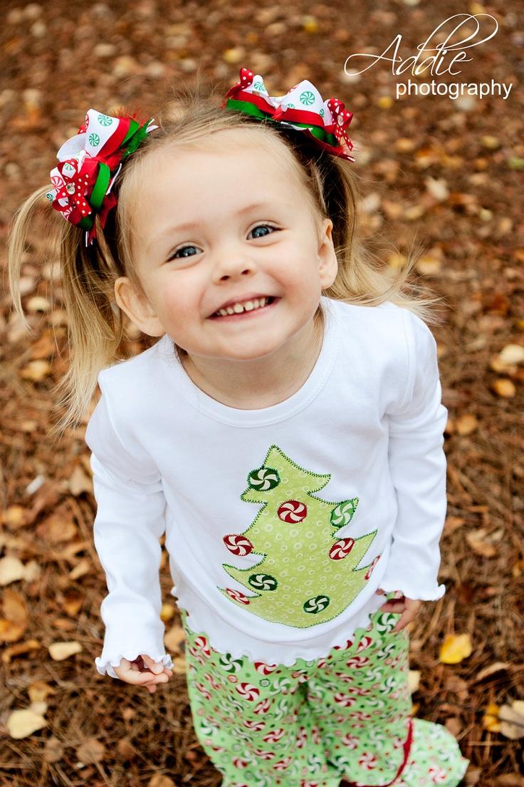 Girl's Christmas Outfit - Toddler Christmas Pajamas -  Ruffle Pant Set - Christmas Tree Outfit - Baby Toddler Girll. $35.00, via Etsy.