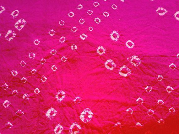 Fabric Bandhej Tie Dye Gujarat Cotton Fushcia Pink White