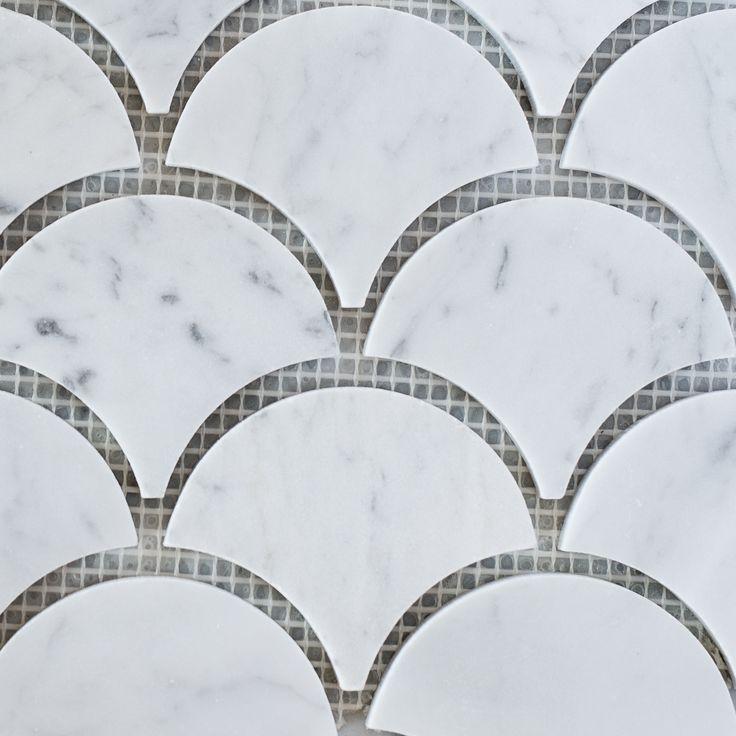 Designer Marble   Carrara Fan Mosaic