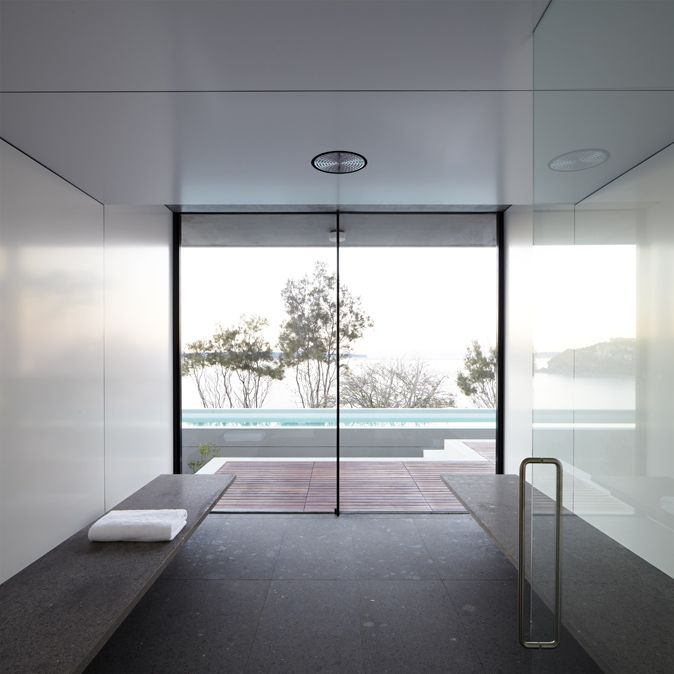 Steam room inside the Whale Beach House by Tobias Partners _