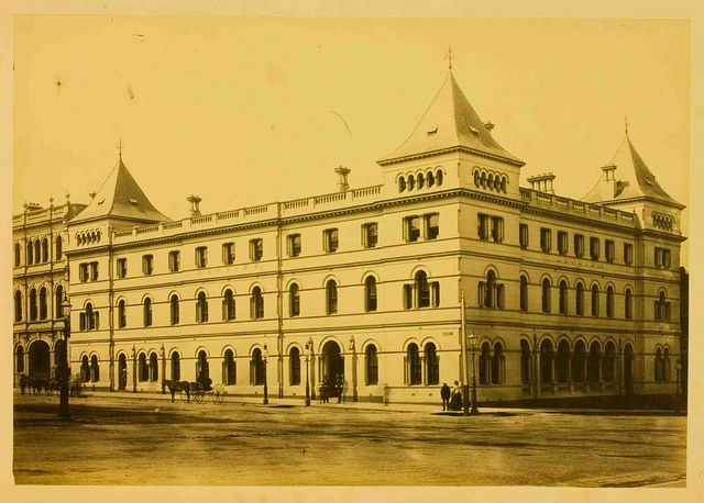 Albumen print photograph of the Menzies Hotel, corner Bourke and William Streets, Melbourne, 1870s