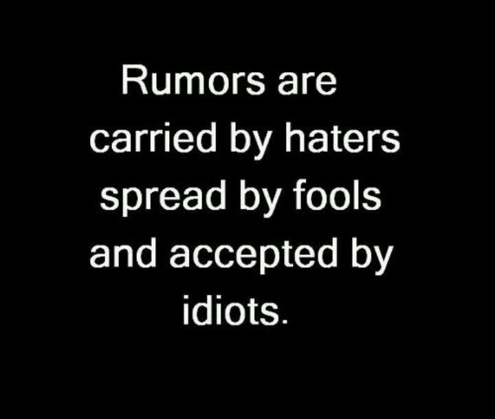 """Idiots, haters, fools  """"Los rumores son transmitidos por los enemigos, difundidos por los tontos y aceptado por los idiotas"""""""