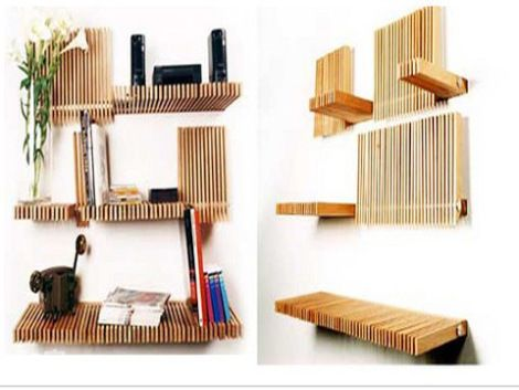 Diy most creative bookshelves in the beginning for Unique shelves diy